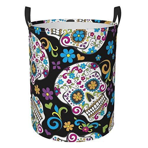 Foldable Laundry Hamper Sugar Skulls Dirty Clothes Round Laundry Basket Waterproof Toys Clothes Storage Organizer Washing Bin Durable Handbag For Bathroom Bedroom