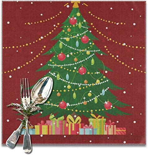 The reusable Tree With Gift Boxes, Light Bulb, Decoration Balls, Toys, Star, Garlands Placemats For Dining Table Set of 6. Heat Resistant Table Mat Washable Non Slip ,Perfect for everyday use,