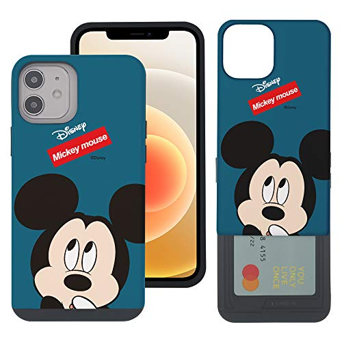 WiLLBee Compatible with iPhone 12 Pro MAX Case (6.7inch) Dual Layer Card Slide Slot Wallet Bumper Cover - Face Mickey Mouse
