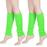 80s Women Knit Leg Warmers Ribbed Leg Warmers for Party Accessories (Fluorescent Green, 2)