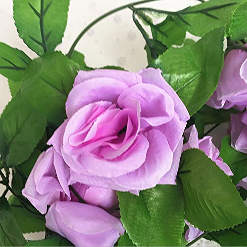 Mistari 250CM/lot Silk Roses Ivy Vine with Green Leaves for Home Wedding Decoration Fake Leaf DIY Hanging Garland Artificial Flowers- Fake Plant - Artificial Plants-Purple