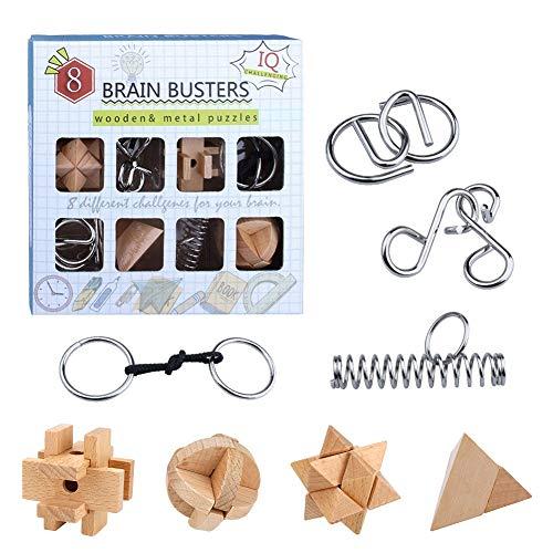 yidenguk 8 Pièces 3D Puzzle en Bois et Casse-tête métallique Wire Set, Jeux de Puzzle en Bois à Verrouillage 3D, Jouet de défi IQ Jouet éducatif intellectuel Logic pour Enfants et Adultes Challenge