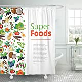 Not applicable Duschvorhang Superfood mit Obst Gemüse Beeren Nüsse & Samen mit ges&en Detox Naturprodukten Flacher Bio-Duschvorhang,72X72 In