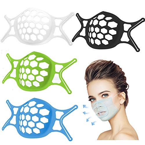 3D Mask Bracket - Silicone Mask Bracket-for masks protection Lipstick-Face Mask Bracket Insert Frame Support -with Hooks Breathe Cup-for Fastening Cool Mask Guard -Make Nose Breathing smoothly(Color mixing 4 Pcs)