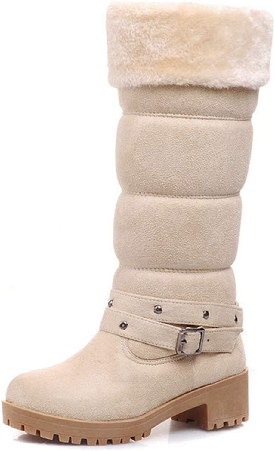 GIY Women's Mid-Calf Snow Boots Suede Leather Buckle Waterproof Fur Lined Low Heel Wedge Boots