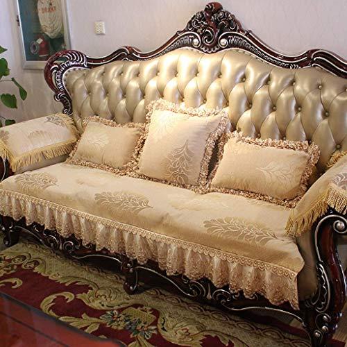 Europäischer Stil sofa schonbezug stretch, sofabezug ecksofa l form, Moderne Ecksofa Überzüge für Couch Startseite faltbare Anti-Rutsch-Sofa Slipcover, waschbaren ,Beige,Candy pillow 17*53cm+core