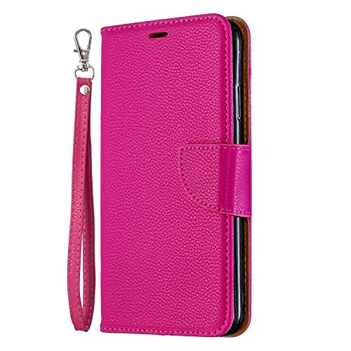 Nokia 1.4 Case,Litchi ShockProof PU Leather Flip Cover Notebook Wallet Case with Magnetic Closure Stand Card Holder ID Slot Folio Soft TPU Bumper Protective Skin,Rose red
