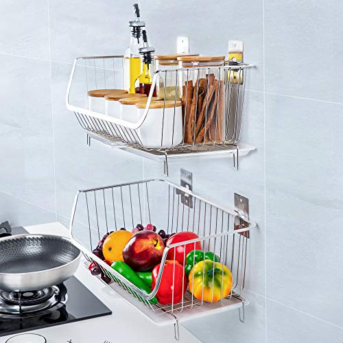 TOLEAD Screws Free 2 PCS Large Wire Baskets Multifunctional Vegetable Fruit Rack with Drip Tray Heavy Duty Wall Mount/Countertop Kitchen Organiser, 16.14''L X 8.66''W X 7.48''H, Chrome