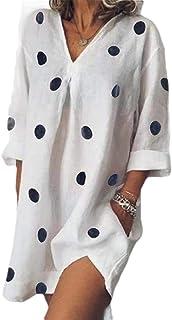 FSSE Women Summer V Neck Loose Split Polka Dot Print Cotton Linen Beach Party Mini Dress