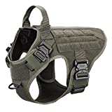 ICEFANG Tactical Dog Harness with 4X Metal Buckle,Dog MOLLE Vest with Handle,No Pulling Front Clip,Hook and Loop Panel for Dog Custom Patch (M (25'-30' Girth), Coyote Brown)