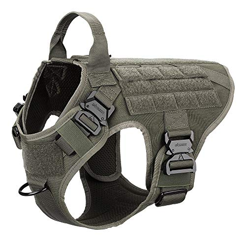 ICEFANG Tactical Dog Harness,K9 Working Dog Vest,No Pulling Front Clip Leash Attachment,Hook and Loop Panel for ID Badge,Sturdy Handle (M (25'-30' Girth), Ranger Green-4x Metal Buckle)