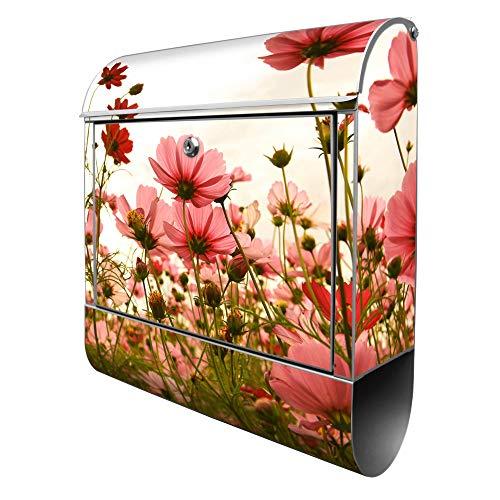 Banjado Design Briefkasten mit Motiv Schmuckkörbchen | Stahl pulverbeschichtet mit Zeitungsrolle | Größe 39x47x14cm, 2 Schlüssel, A4 Einwurf, inkl. Montagematerial