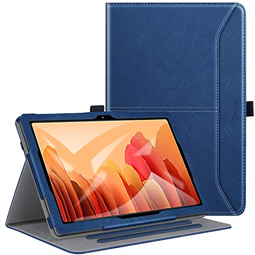 ZtotopCase Case for Samsung Galaxy Tab A7 10.4 2020, Premium Leather Folio Stand Case Smart Cover with Auto Sleep/Wake, Document Card Slots and handhold strap for Samsung Tab A7, Blue