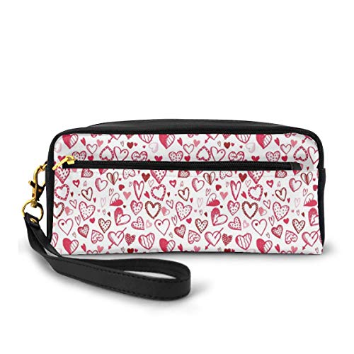 Pencil Case Pen Bag Pouch Stationary,Sketch Drawing Style Hearts Red and Pink Love Pattern for Romantic Couples,Small Makeup Bag Coin Purse