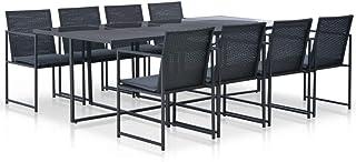 Fesjoy Conjunto de Muebles de jardín Juego de Mesa de Comedor de ratán 1 Tabla, 8 sillas y 8 Cojines en Resina Trenzada. para Jardin, Patio o terraza Negro