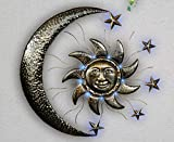 Schwartinsky Wanddekoration Wanddeko Sonne LED EIN-& Ausschalter Lichtsensor, Metall, ca. 2,5 cm T x 69,5 cm B x 67,0 cm H