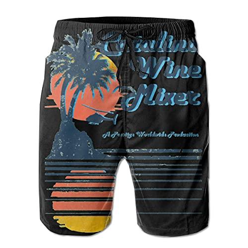 GOSMAO Bañadores para Hombre Catalina Wine Mixer Men Swim Trunks Pantalones de Playa Impermeables de Secado rápido Pantalones Cortos de Playa