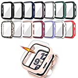 14 Pack Apple Watch Case with Tempered Glass Screen Protector for Apple Watch 44mm Series 6/5/4/SE,JZK Full Coverage Hard PC Protective Cover HD Ultra-Thin Guard Bumper for iWatch 44mm Accessories