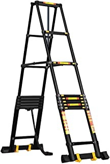 2.2m-3.8m A-Frame Ladder Aluminum Portable Telescopic Ladder with Wheels Heavy Duty Telescopic Extension Ladders for Home Loft Office (Size : 3.8m+3.8m/12.5ft)
