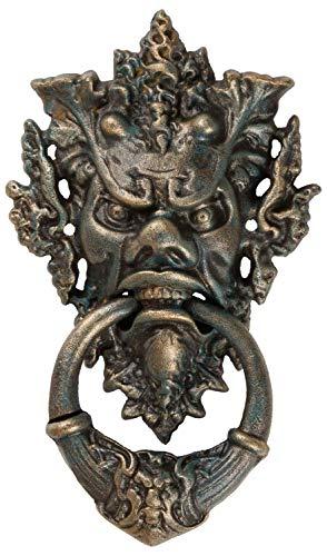 aubaho Türklopfer Teufel Gesicht Figur Skulptur Eisen Antik-Stil 37cm
