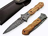 FN-16 Custom Handmade Damascus Steel 8.4 Inches Folding Knife - Beautiful Olive Wood with Damascus Steel Bolsters