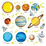 DECOWALL DW-1307 Planetas en el Espacio Vinilo Pegatinas Decorativas Adhesiva Pared Dormitorio Salón Guardería Habitación Infantiles Niños Bebés (English Ver.)
