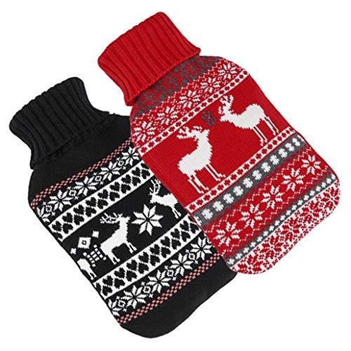 Bambelaa! 2er Set Große Wärmflaschen Bettflaschen Flauschbezug zwei Designs Rot & Schwarz Wärmekissen Strickmuster Winterdesign (2 x 2 Liter)