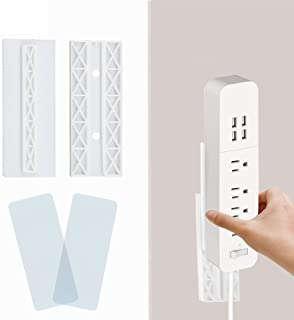 Self Adhesive Power Strip Fixator Wall Mount 4 Packs Punch Free Socket Bracket Stand Simplest Holder for Surge WiFi Router...