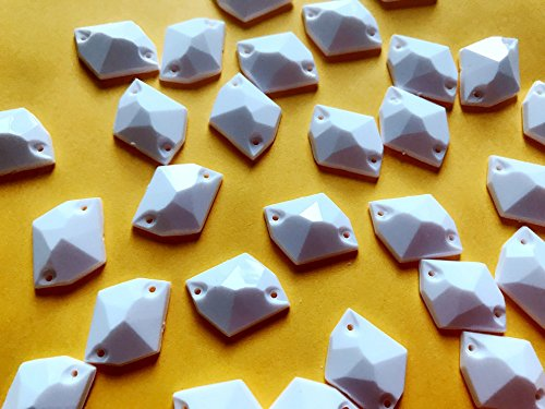 Neuf Blanc Cosmic Sew Mode en acrylique Strass Cristal Plat de 13 * 16 mm 100 pcs