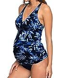iDrawl Umstands Tankini Schwangerschafts Bademode, Zweiteiler Blau Badeanzug für Schwangere UV-Schutz 50,Cup B C D