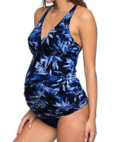 iDrawl Umstands Tankini Schwangerschafts Bademode, Zweiteiler Blau Badeanzug für Schwangere UV-Schutz 50,Cup A B