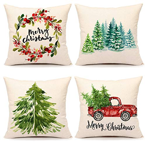 4TH Emotion Christmas Pillow Covers 20x20 Set of 4 Farmhouse Christmas Decor Xmas Rustic Decorations for Home Winter Holiday Truck Tree Throw Pillows Cushion Case for Sofa Couch Polyester Linen S202