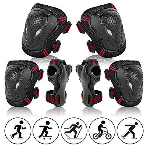 BINSENI Kinder Knieschoner Set 6 in 1 Schutzausrüstung Verstellbare Knie-Ellbogen-Handgelenk-Protektorenset Geeignet für Kinder Skateboardfahren Reiten Roller Rollschuhlaufen(Rot)