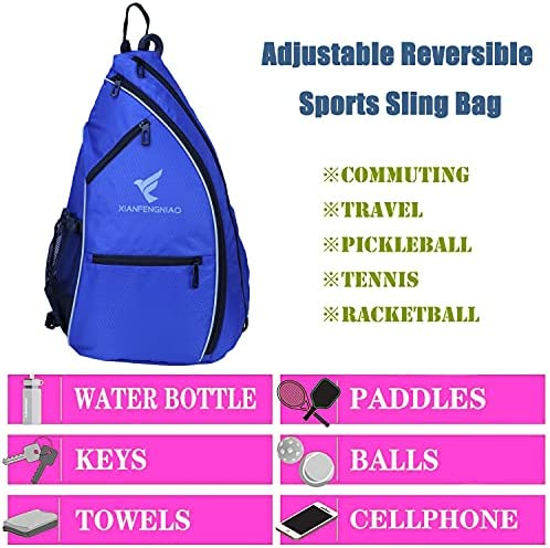 XIANFENGNIAO Pickleball Backpack Sling Bag Crossbody Backpack,Reversible Tennis Bag