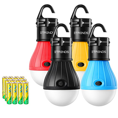 E-TRENDS Compact LED Lantern Tent Camp Light Bulb for Camping Hiking Fishing Emergency Lights, Battery Powered Portable Lamp, 4 Count, Multi-Color, Batteries Included