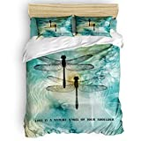 Yogaly Home Bedding Set 4 Pieces King Size for Adults/Teens/Children/Baby Dragonfly Love is a Nature Angel on Your Shoulder Printed Bed Sheets, Duvet Cover, Flat Sheet, Pillow Covers