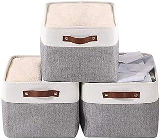 HAOGEGE 3PCS Paniers de Rangement en Tissu Grandes Boîtes de Rangement Caisses de Rangement Boîte Range Gris pour Ranger V...