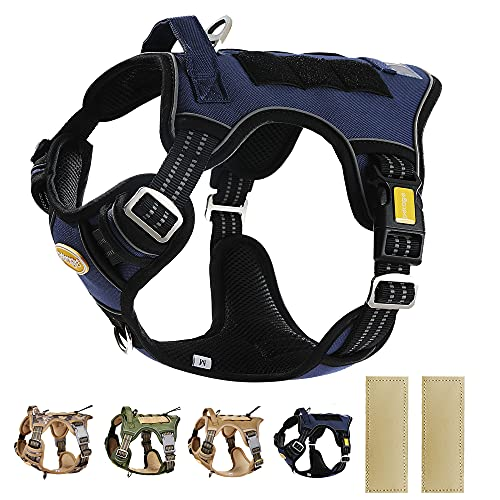 PETAGE Tactical Service Dog Harness No Pull, Reflective Military Dog Harness
