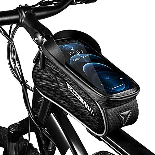 Fahrrad Rahmentasche Handyhalterung Handy Fahrradhalterung Fahrradtasche Lenker Wasserdicht, Handyhalter Lenkertasche Halterung Handytasche Touch Aktiviert rüttelsicher für 5.5 - 7 Zoll Smartphone