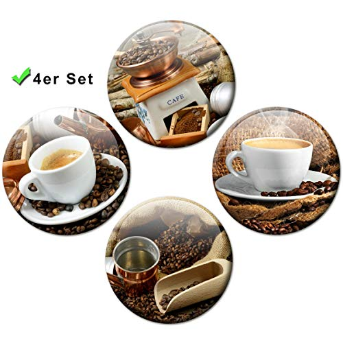 Koelkastmagneten koffie kopjes 4-delige cadeauset magneten voor magneetbord koelkast sterk groot Ø 50 mm