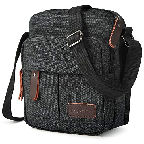 Koolertron Men Shoulder Bag Small Retro Canvas Satchel Zipped Unisex Lightweight Long Strap Crossbody Travel Messenger Bags for Phone iPad Mini Kindle (Black, 23x27x11cm/LxHxW)