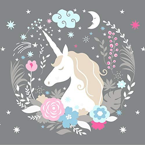 anna wand Cenefa autoadhesiva con diseño de unicornio, para habitación infantil o bebé con unicornios en color gris, azul y rosa