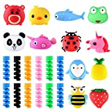 ASTARON 24PCS Charging Cable Protectors for iPhone/iPad, Cute Animal USB Charger Cable Saver Cable Wire Protector