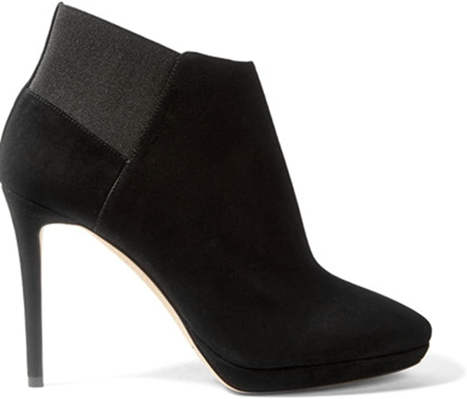 TDA Women's Fashion Pure color Suede Stiletto Ankle Boots