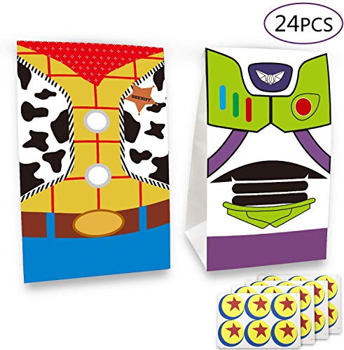 YNOUU Toy Inspired Story Birthday Party Supplies Favor Goodie Gift Bags, Including Woody and Buzz Lightyear 2 Patterns for Kids Birthday Party Decorations