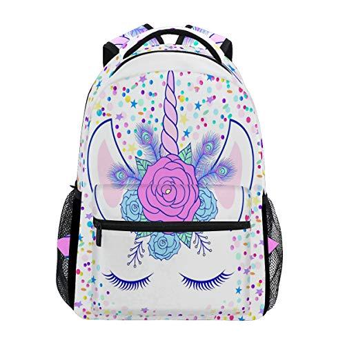Mochila para portátil de viaje con diseño de unicornio con flores en blanco, resistente al agua, para colegio, para mujeres y hombres, para acampar al aire libre y para portátil de hasta 14 pulgadas.