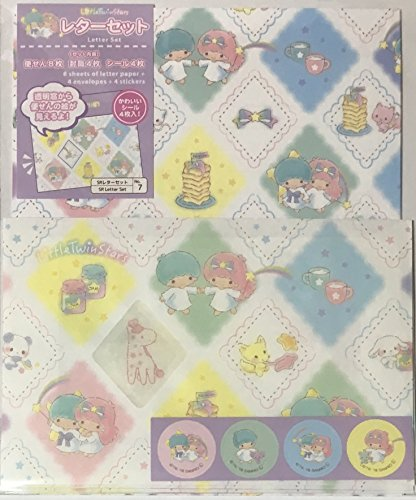 Sanrio Letter Set 8 Writing Paper + 4 Envelopes + 4 Stickers (with transparent window) + 4 Stickers Stationary Japan (with transparent window) + 4 Stickers Stationary Japan (Little Twin Stars B)