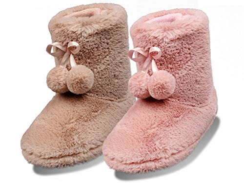 Sprint Damen Hüttenschuh Hausschuhe Stiefel Pantoffeln (Braun, Numeric_42)