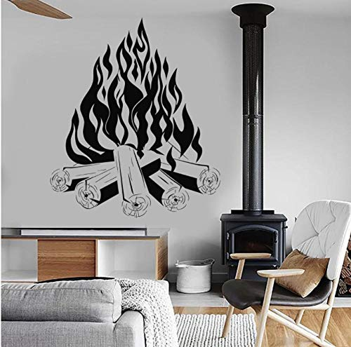 Falò Decalcomania da muro Campfire Vinile Living Interior Art Wall Stickers Rimovibile Camping Fire Camino Porta Windows Murales 49x42cm