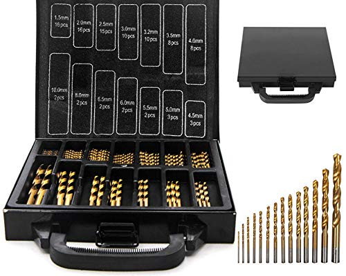 99pc Hi-Spec Multi Drill Bit Set in Storage Cas Multi-Material Titanium Coated Drill Bits Set for metal, wood, plastic materials such as aluminum, iron etc